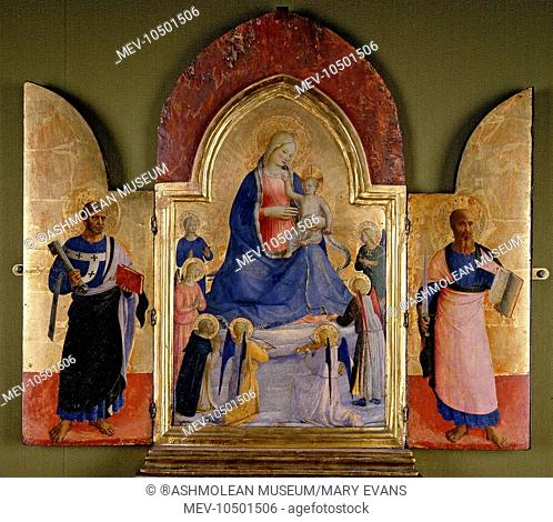 The Virgin and Child with Angels and a Dominican Saint; St Peter (left); St Paul (right). studio of Fra Angelico (c. 1395/1400 - 1455)