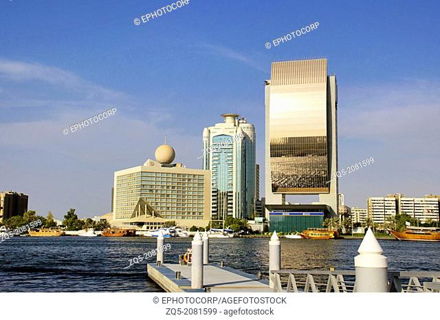 Buildings on the bank of Dubai creek, Dubai. UAE