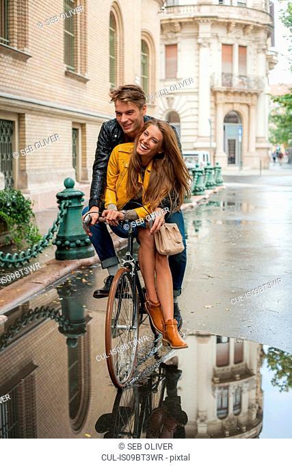Couple on bicycle, Budapest, Hungary