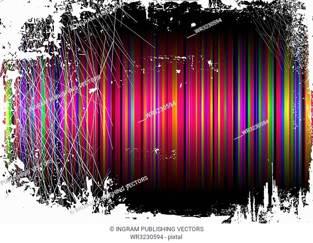 Striped rainbow background overlayed by a grunge effect