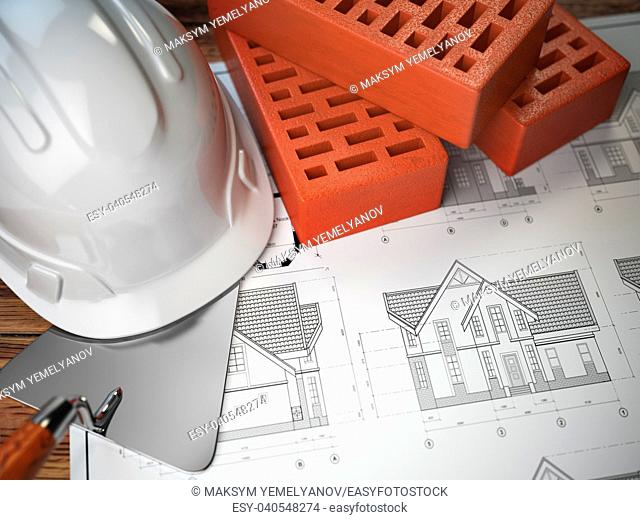Hard hat, trowel and bricks on the drawings with construction plans. Engineering or construction concept. 3d illustration