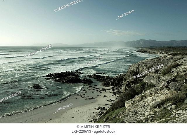 View at rocks and surge at Walker Bay, Gansbaai, Western Cape, South Africa, Africa