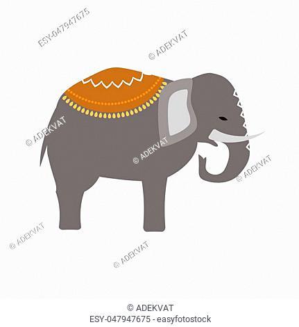 African elephant isolated on white. Baby animal indian zoo vector illustration. Nature mammal, trunk wildlife safari big tusk