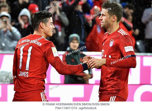 goaljubel James RODRIGUEZ (Bayern Munich, withte), after goal to 5-0, with Thomas MUELLER (MULLER, FC Bayern Munich). jubilation, joy, enthusiasm, action