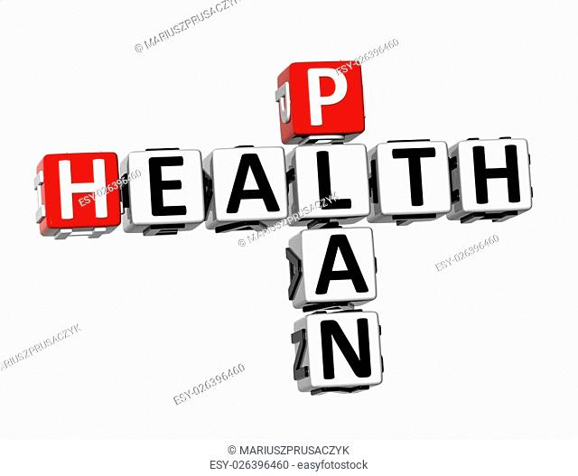 3D Crossword Health PLan on white background