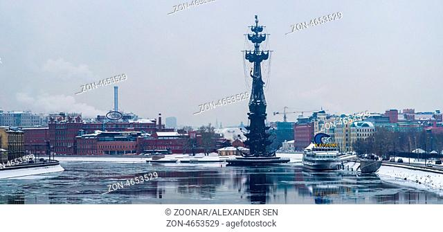 Panorama Of Moscow River, Balchug Island, Monument To Peter The Great