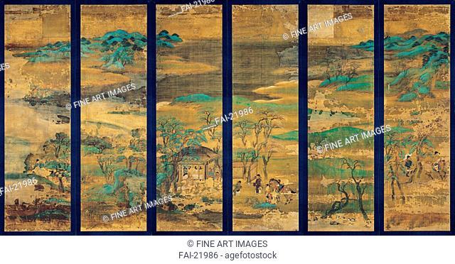 Landscape screen. Anonymous . Gouache on silk. The Oriental Arts. 11th-12th century. Japan. National Museum Kyoto. 146,4x42,7. Landscape,Genre