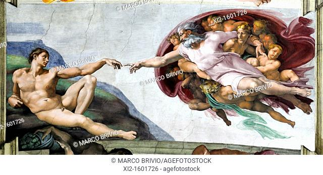 Rome, Italy  Vatican Museums, Sistine Chapel  The Creation of Adam by Michelangelo