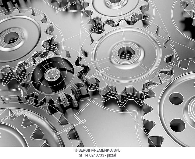 Steel cogwheels in gearbox or engine, part of mechanism combine with drawings
