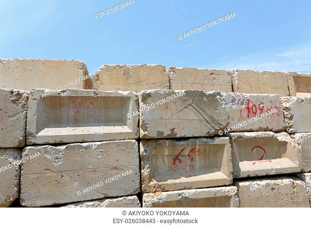 Stack of old concrete blocks