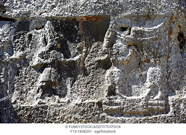 Picture of Yazilikaya  i e written riock , Hattusa The largest known Hittite sanctuary  13th century BC made in the reign of Tudhaliya 1V 2