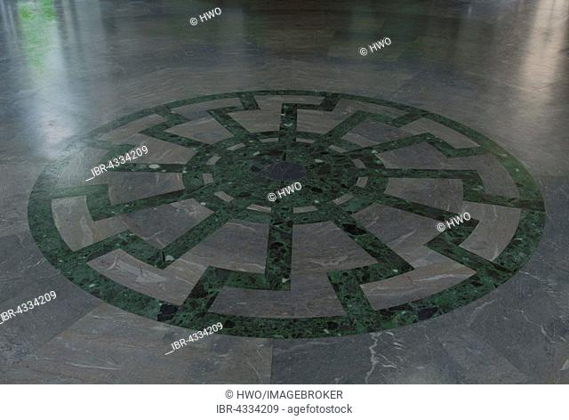 Ornament of the Black Sun wheel mosaic with superimposed swastikas in the floor of Obergruppenführersaal, SS Generals' Hall, Wewelsburg castle