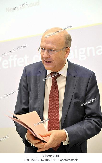 Press conference with European Court of Justice President Koen Lenaerts within the two-day conference on binding character of court verdicts in Brno