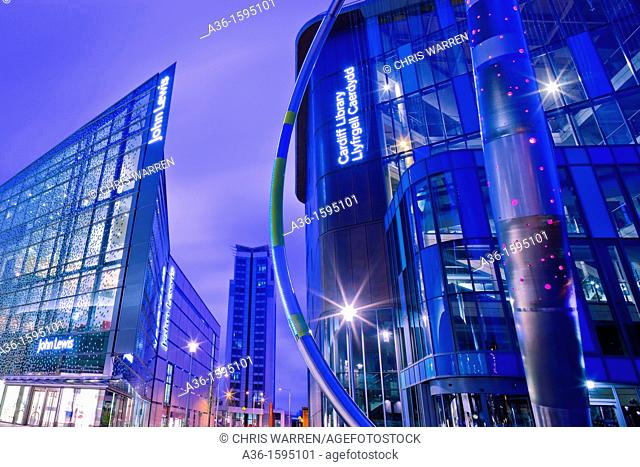 John Lewis Store Shopping Centre and Central Library Cardiff Wales at twilight