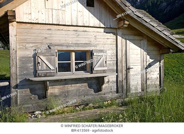 Cabin detail, Mt. Rotwand meadow, Dolomites, Italy, Europe