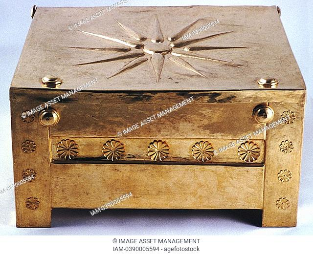 Gold larnax funerary casket from the Macedonian royal tombs at Vergina 350-325 BC  Archaeological Museum of Thessaloniki