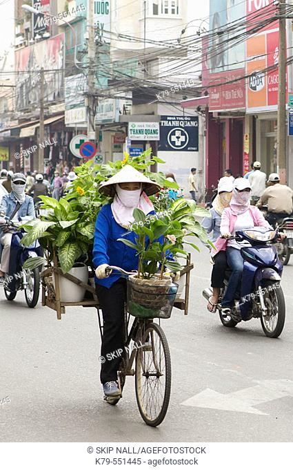 A woman on bicycle selling plants in Hanoi