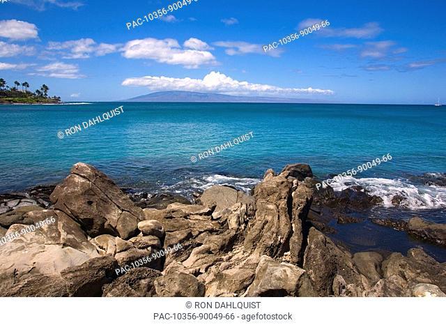 Hawaii, Maui, Napili Bay with Lanai in far background