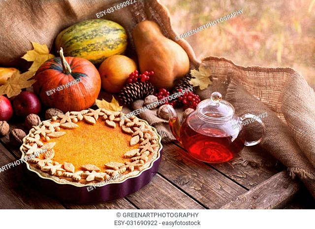 Traditional homemade pumpkin tart pie healthy natural sweet dessert recipe with tea. Halloween or thanksgiving holiday celebration meal