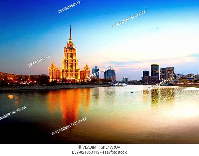Night Moscow. Moscow River. Hotel Ukraine