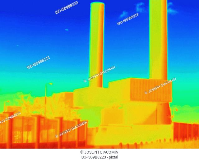 Thermal image of West London power station and associated high voltage transmission equipment