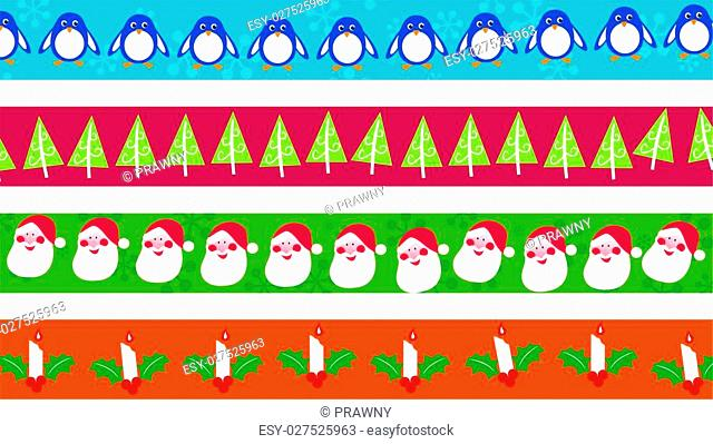 set of four festive Christmas page border decorations