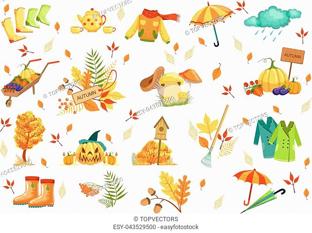 Set Of Associated With Autumn Objects. Seasonal Symbols In Cute Detailed Cartoon Style On White Background