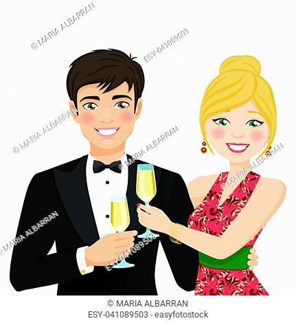 A man and a woman with fancy clothes. Vector illustration