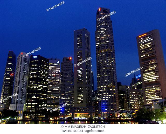 cityscape of Singapore by night, Singapore