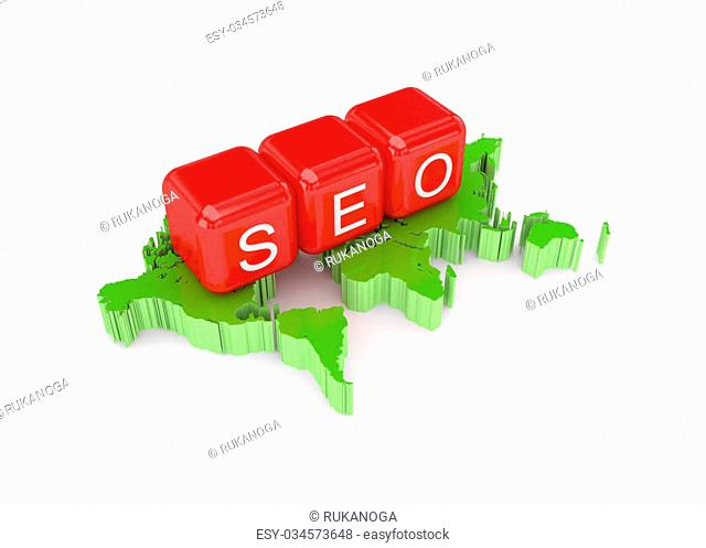 SEO concept. Isolated on white background.3d rendered