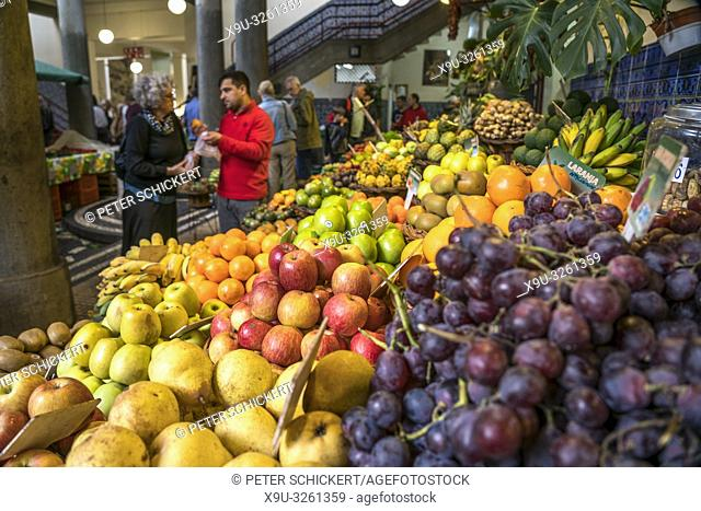 fruits stall at the market hall Mercado dos Lavradores, Funchal, Madeira, Portugal, Europe