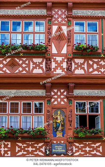 Half-timbered House, Hotel Deutsches Haus, Dinkelsbuhl, Romantic Road, Middle Franconia, Bavaria, Germany
