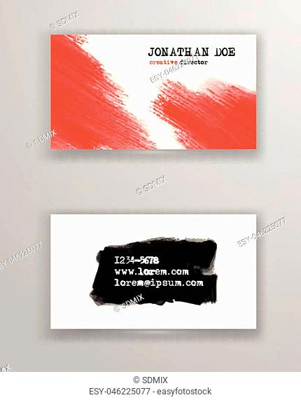 Creative business card templates with minimalistic design. Abstract red ink brush strokes. Vector Illustration