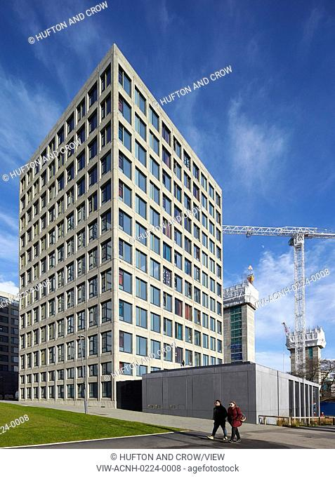 Corner elevation of 12-storey student housing. Leeds Central Village, Leeds, United Kingdom. Architect: John McAslan & Partners, 2015