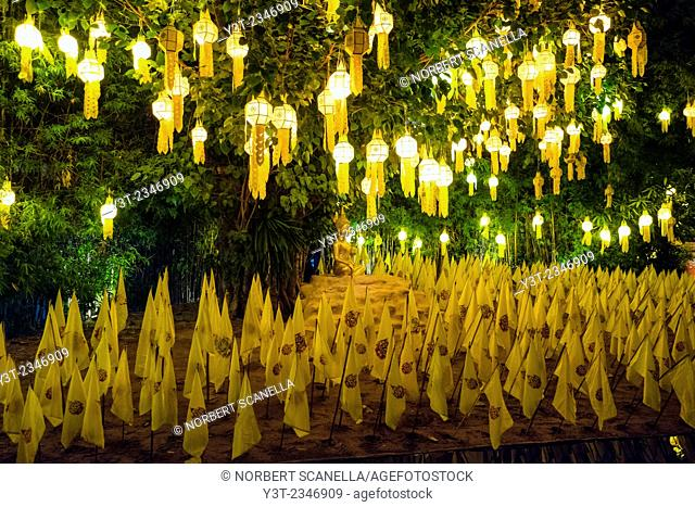 Asia. Thailand, Chiang Mai. Wat Phantao. Preparation for the King's birthday on December 5