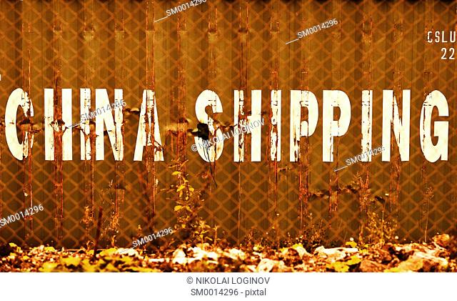 Orange China delivery container textured background hd