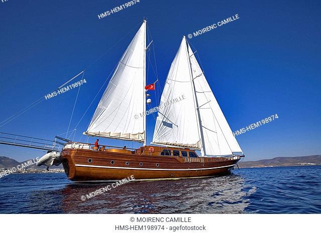 Turkey, Aegean coast, Bodrum, Lady Christa Gulet traditional Turkish sailing boat