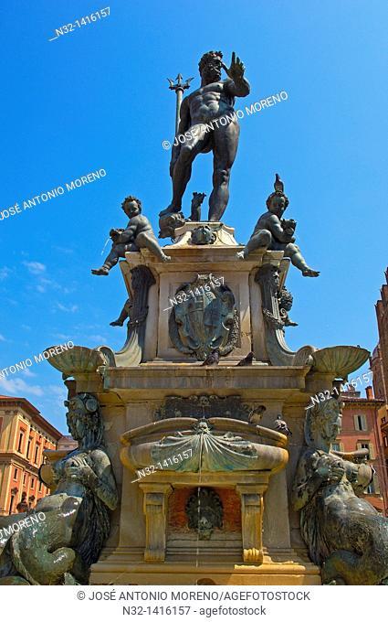 Bologna, Neptuno fountain, Piazza Maggiore Main Square, Emilia Romagna, Italy, Europe