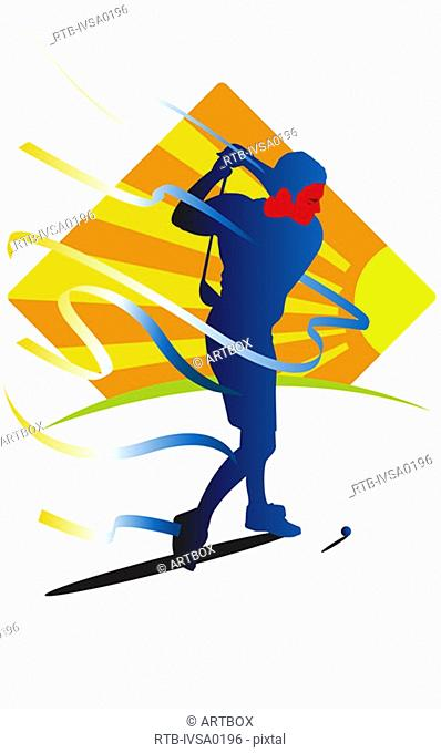 Young man swinging a golf club