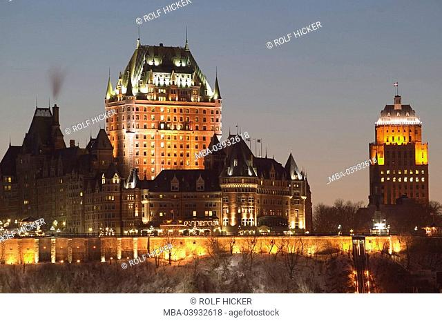 Canada, Quebec city, hotel chateau Frontenac, illumination, evening, North America, palace, luxury-hotel, brick-high-rise, construction, architecture, tourism