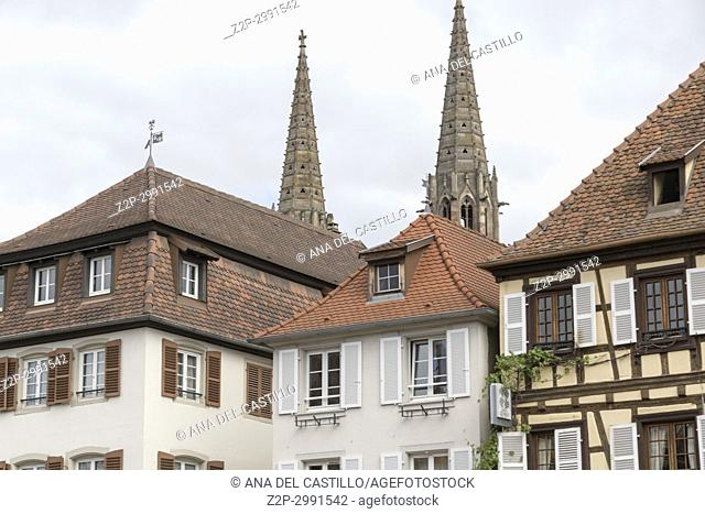 Medieval architecture in Obernai on May 15, 2016 in France Alsace