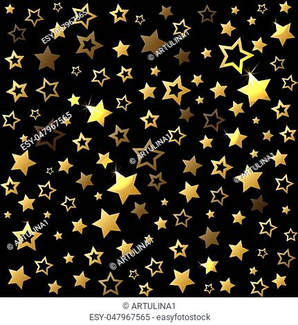 Gold shine stars seamless pattern. Vector christmas background. Pattern for gift wrapping paper, fabric print, festive card design