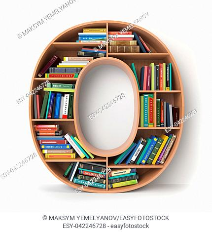 Letter O. Alphabet in the form of shelves with books isolated on white. 3d illustration