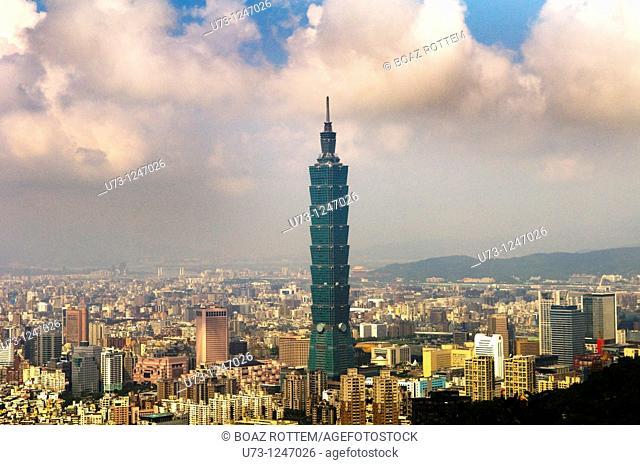 Taipei 101 skyscraper dominates the cityscape of Taipei, Taiwan