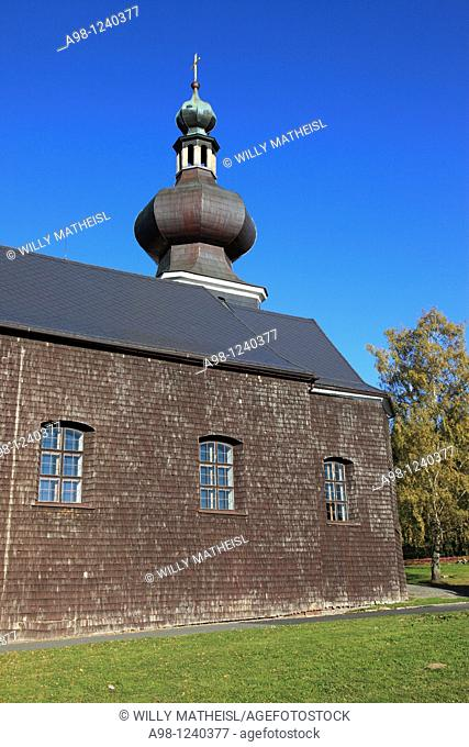 Church of the Holy Trinity in the city Srni, German Rehberg, built in 1804-1805, instead of a wooden chapel, Sumava, Bohemia, Czech Republic, Europe