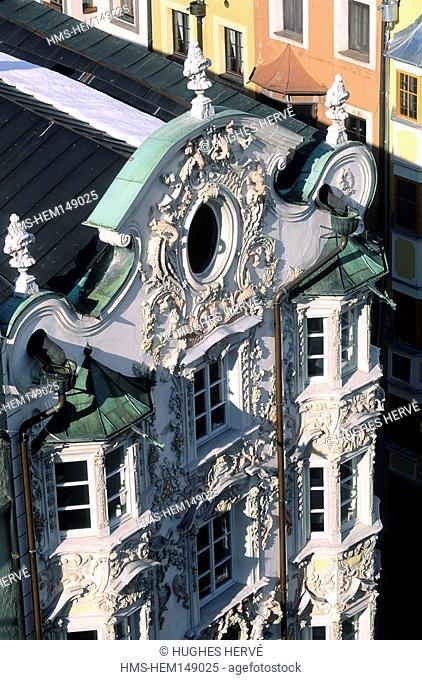 Austria, Tyrol, Innsbruck, Baroque facade of the Helblinghaus