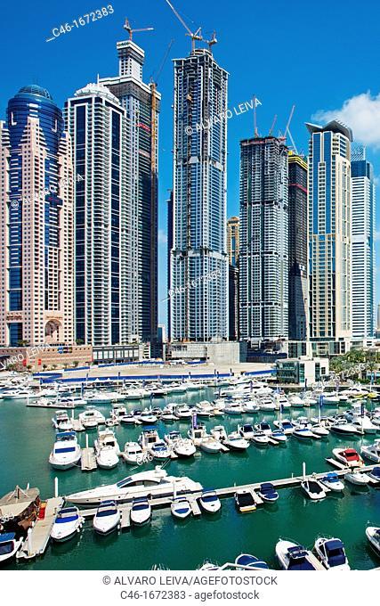 Skyscrapers and Marina in Dubai Marina area, Dubai City, Dubai, United Arab Emirates, Middle East