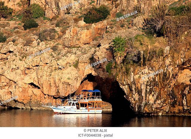 Turkey, Turkish riviera, Antalya, boat in a grotto