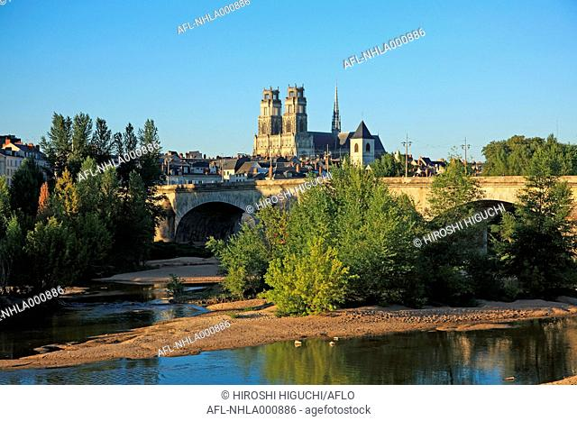 France, Loiret, Loire Valley, Orleans, the Cathedral and River Loire, UNESCO World Heritage