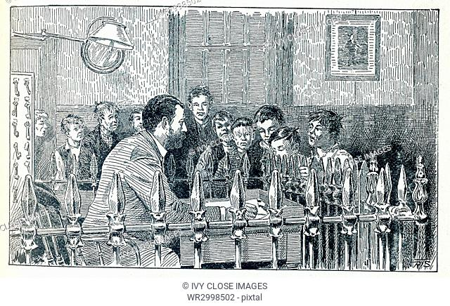 This late 19th-century illustration shows boys in New York City applying to the superintendent at the Water Street Mission for a night's lodging